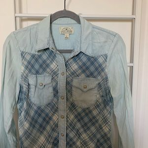 Lucky Brand Western Plaid Button Down Small